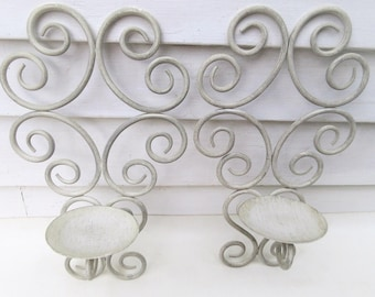 Vintage Iron Sconces | Wall Sconces | Iron Candle Holders | Candle Sconces | Wrought Iron Wall Scroll | Metal Wall Candle Holders | Scrolls
