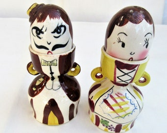 Vintage Egg Cups | Salt Pepper Shakers | Anthropomorphic | Egg Cup Shakers | Eggcup Holders | Thames Japan | Spice Shakers