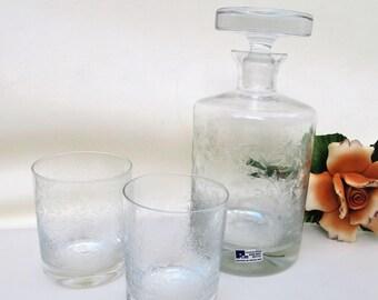 Vintage Scotch Decanter Set | Crystal Liquor Decanter | Rocks Glasses | Whiskey Set  | Cocktail Glass Set | Liquor Bottle and Glasses