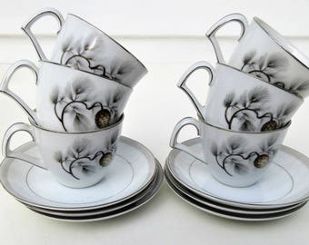 Vintage Espresso Cups Set | Demitasse Cups and Saucers Set | Silver Pine | Kent China | Tea Cups Saucers | Set of 6 | Wedding China