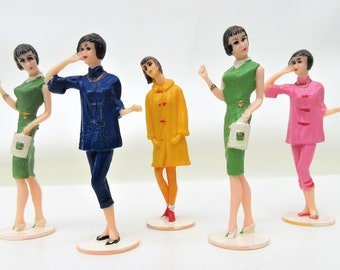 Vintage Cake Decoration | Cake Toppers | Lady Cake Topper | Fashion Girls | 60s Fashion | Doll Cake Toppers – Lot of 5