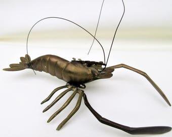 Vintage Brass Lobster | Brass Crawfish | Seafood Art | Brass Sculpture | Metal Lobster | Brass Figurine | Coastal Living