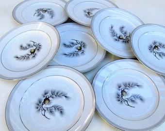 Vintage Pinecone China | Salad Plates | Kent China Plates | Dessert Plates | 50s Dinnerware | 7 Inch Plates | Set of 8