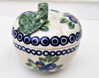 Vintage Handmade Pottery Dish | Pottery Apple Baker | Ceramic Apple | Garlic Keeper | Polish Pottery