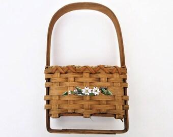 Vintage Hanging Basket   Wicker Wall Basket   Wall Towel Rack   Wicker Wall Pocket   Mail Pouch   Boho Wicker   Bohemian Decor