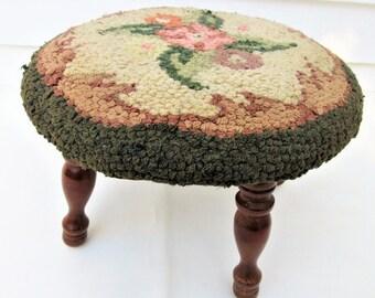 Vintage Round Foot Stool | Wood Stool | Tapestry Stool | Small Footstool | Hooked Rug Stool | Foot Rest Ottoman