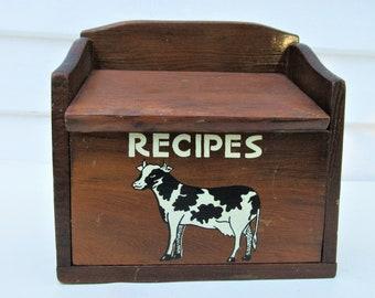Vintage Wooden Box | Recipe Box | Recipe Card Box | Cow Box | Black White Cow | Country Farmhouse Kitchen