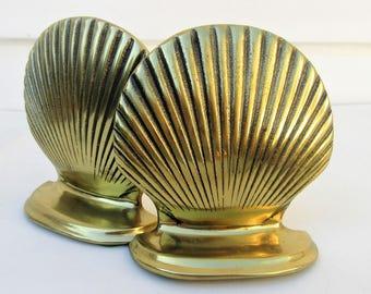 Vintage Brass Bookends | Brass Shells | Shell Book Ends | Metal Book Ends | Metal Clam Shells | Nautical Book Ends | Brass Clamshells