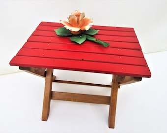 Vintage Wood Stool | Foot Stool | Wooden Step Stool | Slat Folding Chair | Camp Stool | Plant Stand | Folding Wood Stool | Wood Foot Stool