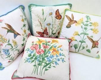 Vintage Pillows   1960s Pillows   Decorative Pillows   Pastel Accent Pillows   Throw Pillows   Sofa Pillows   Hummingbirds   Set of 4