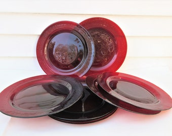 Vintage Glass Plates | Red Glass Plates | Ruby Red Dishes | Dinner Plates | Large Plates | Holiday Dinnerware | 11 Inch Plates | Set of 8