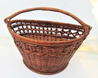 Vintage Wall Basket   Hanging Basket   Wicker Wall Pocket   Wall Mounted Basket   Handle Basket   Counter Top Basket   Wall Basket