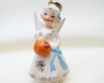 Vintage Birthday Angel Figurine | October Angel | October Figurine | Halloween Figurine | Angel with Pumpkin Jack O Lantern