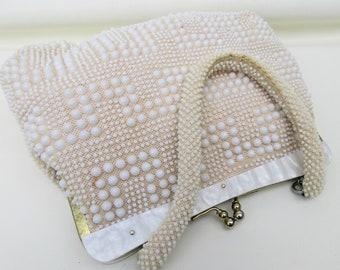 Vintage Beaded Bag   White Beaded Handbag   Lucite Frame   Kelly Bag   Hong Kong Purse   Bubble Bead Purse