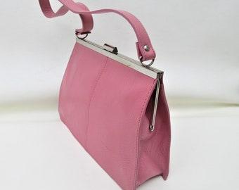 Vintage Pink Leather Handbag   Leather Purse   Pink Bag   Wilson Leather Bag   Top Handle Bag   Metal Frame Purse