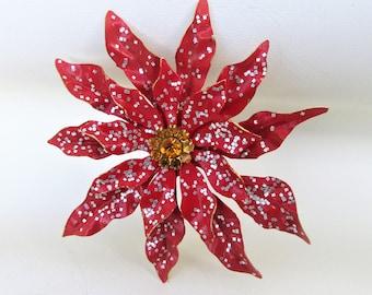 Vintage Metal Flower | Flower Brooch | Poinsettia Flower Brooch | Large Flower Pin | Glitter Pin
