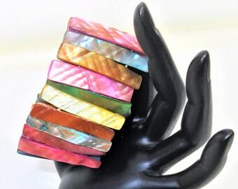 Vintage Abalone Bracelet | Multicolor Bracelet | Abalone Shell Jewelry | Wrist Cuff | Stretch Bracelet | Beach Jewelry | Multi Color Bangle
