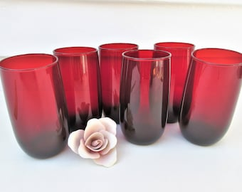Vintage Ruby Red Glasses | Roly Poly Glasses | Drinking Glasses | High Ball Glasses | Red Cocktail Glasses | Hocking Red Glasses – Set of 6