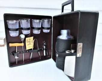 Vintage Portable Bar   Travel Bar Set   Black Tote   Bartender Tools   Large Cocktail Shaker   Original Key    Stainless Steel Flask