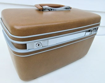 Vintage Train Case | Samsonite Silhouette | Samsonite Case | Makeup Case | Carry On Bag | Tray Key Mirror | Train Case with Key | Travel Bag