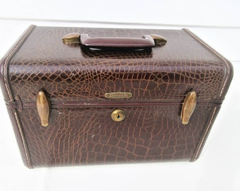 Vintage Samsonite Case | Train Case | Traincase Makeup | Faux Alligator Suitcase | Hard Sided Luggage | Brown Faux Leather | 1950s Luggage