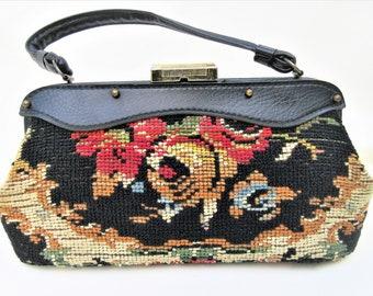 Vintage 50s Handbag   Carpet Purse   Tapestry Bag   Carpet Bag   Small Carpet Handbag   Top Handle Purse   Jaclyn Handbag