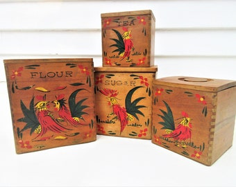 Vintage Wooden Canisters | Wood Canister Set | Nesting Canisters | Dovetail Boxes | Kitchen Rooster Canisters | Rooster Decor – Set of 4