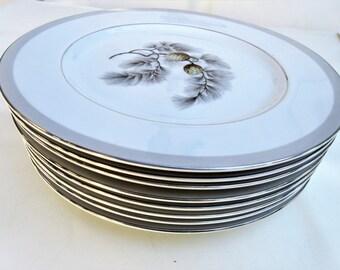 Vintage Kent China Plates | Dinner Plates | Silver Pine | Pinecone China | 10 Inch Plates | Dinnerware Plates | Set of 8