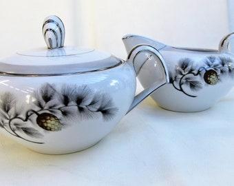 Vintage Cream and Sugar | Kent China | Creamer Sugar Set | Cream Pitcher | Sugar Bowl with Lid | Silver Pine | Kent Fine China