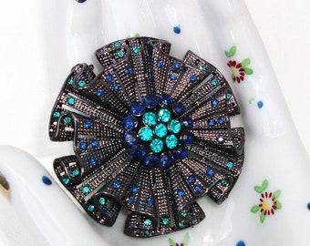 Vintage Pendant Brooch | Sapphire Rhinestone Brooch | Circle Pin | Crystal Pendant | Multi Layer Pin