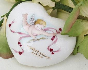 Vintage Valentine | Puffy Heart | Porcelain Heart | Valentine Heart | 1975 Valentine | Noritake China | Porcelain Angel | Heart Ornament