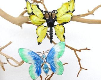 Vintage Butterfly Pins | Enamel Butterflies | Enamel Pins | Butterfly Jewelry | Butterfly Brooches | Rhinestone Butterflies - Lot of 2