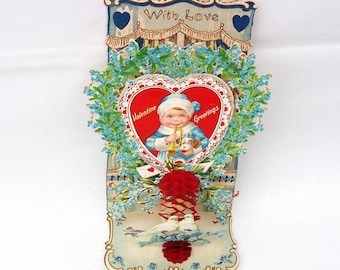 Antique Valentine Card | Victorian Valentine | Pop Up Card | Valentine Postcard | German Valentine | Die Cut Card