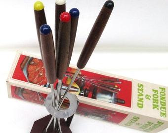Vintage Wooden Forks | Fondue Set |  Wood Fondue Forks | Appetizer Picks | Wooden Stand | 60s Mod Party Supply