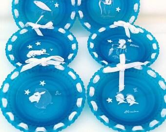 Vintage Glass Wall Art | Zodiac Art | Zodiac Plates | Astrology | Horoscopes Wall Decor | Hanging Plates | Cabinet Plates