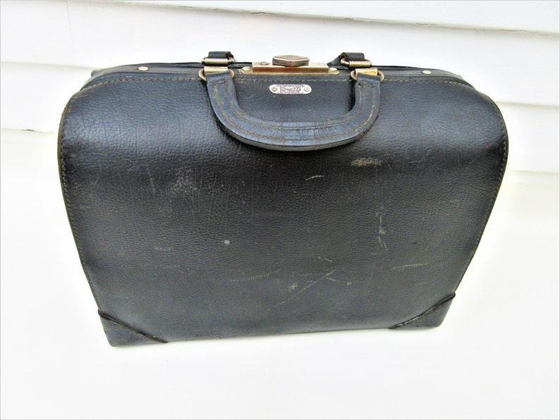 Antique Black Leather Doctors Bag  Medical Bag  Doctors image 0
