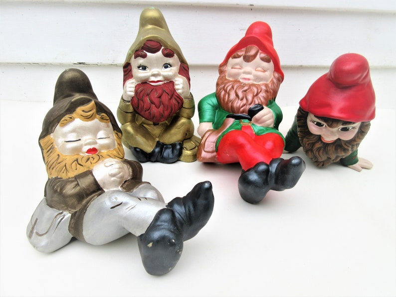 Vintage Ceramic Garden Gnomes Lot of 4  Large Lawn Sculptures image 0