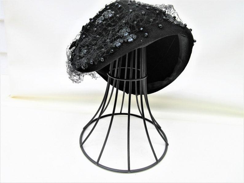 Vintage Metal Hat Stand  Black Iron Hat Display  Millinery image 0