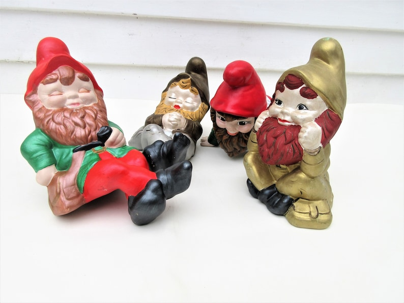 Vintage Ceramic Garden Gnomes Lot of 4  Large Lawn Sculptures image 0