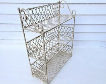Vintage Storage Rack Metal | 3 Tier Shelf | Wrought Iron Stand | Iron Display Rack | 3 Tier Stand | Heavy Duty Shelf