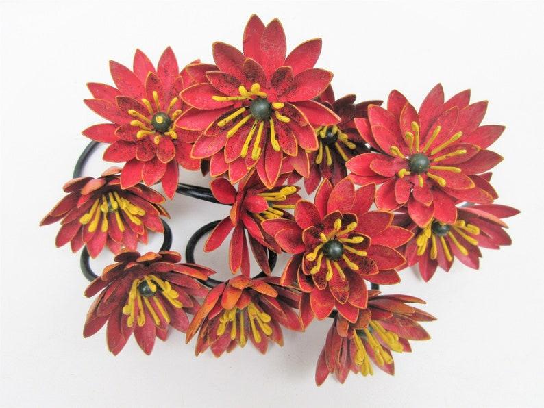 Vintage Flower Napkin Rings  Metal Flowers  Napkin Holders  image 0