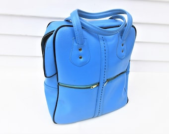 Vintage Travel Tote | Blue Bag | Overnight Bag | Large Top Handle Bag | Flight Bag | Blue Luggage | Weekender | Diaper Bag | Shoe Bag