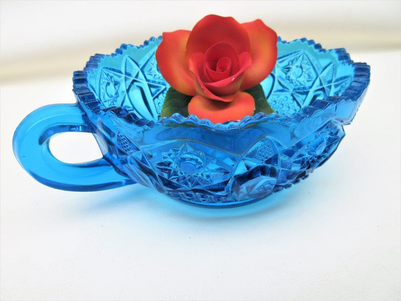 Vintage Turquoise Glass Nappy  Blue Glass Candy Dish with image 0