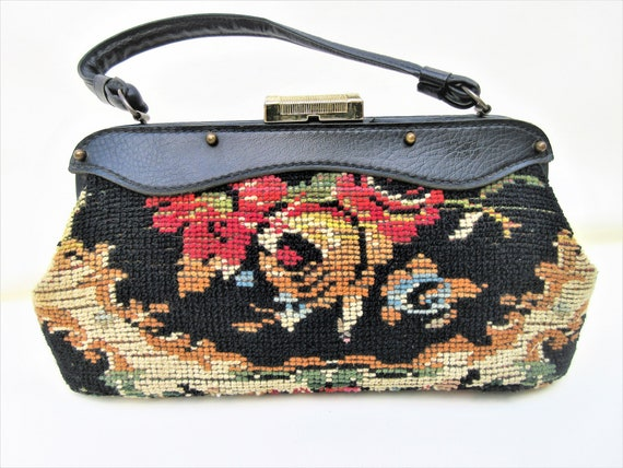 Vintage Carpet Bag | 50s Handbag | Tapestry Purse