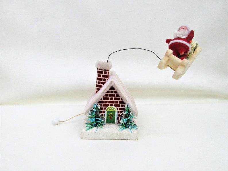 Vintage Christmas Musical Decoration  Santa on Sleigh Circles image 0