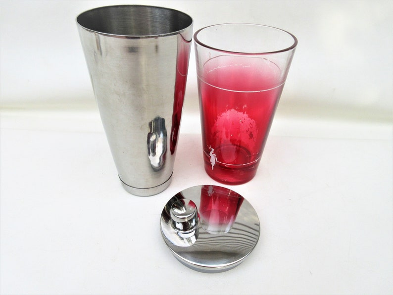 Vintage Stainless Cocktail Shaker with Glass Insert  Martini image 0
