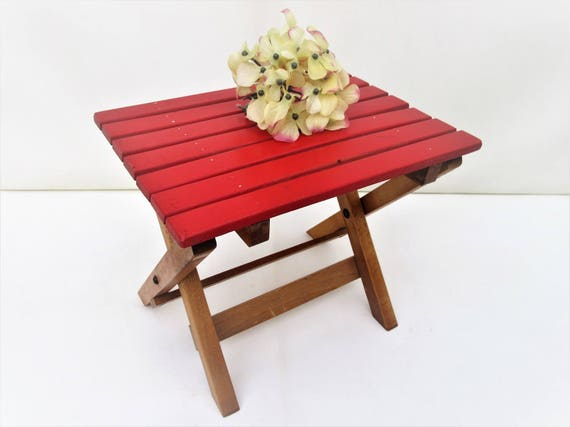 Surprising Vintage Wood Foot Stool Wooden Slat Folding Camp Chair Plant Stand Step Stool Beatyapartments Chair Design Images Beatyapartmentscom