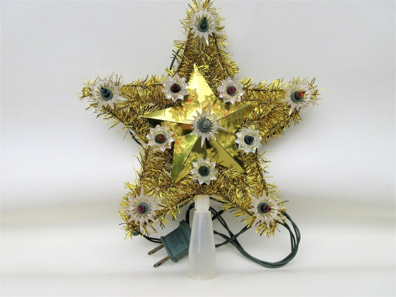 Vintage Tree Topper  Christmas Star Light Up Tree Ornament  image 0