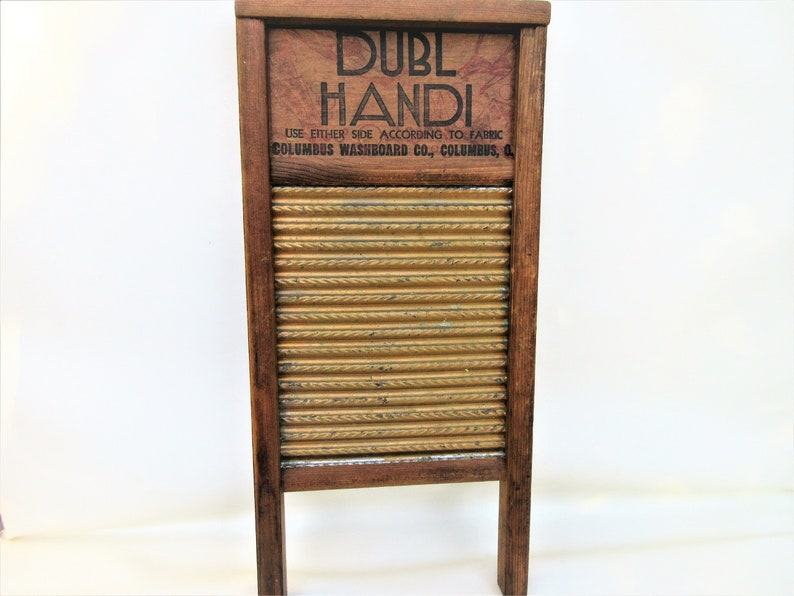 Vintage Wood Laundry Washboard  Galvanized Metal Scrub Board image 0