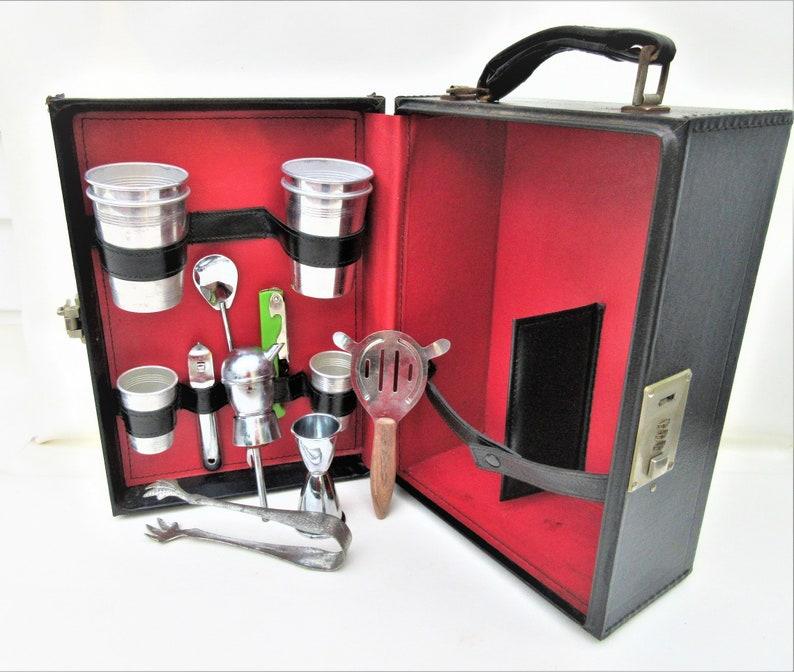 Vintage Portable Bar  1950s Travel Bar Set  Bartender Tools image 0